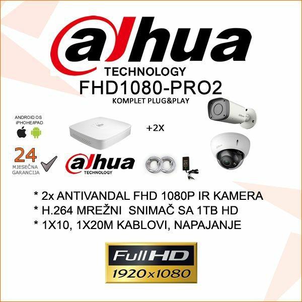 FULL HD 1080P VIDEONADZOR KOMPLET PRO SA 2 KAMERE
