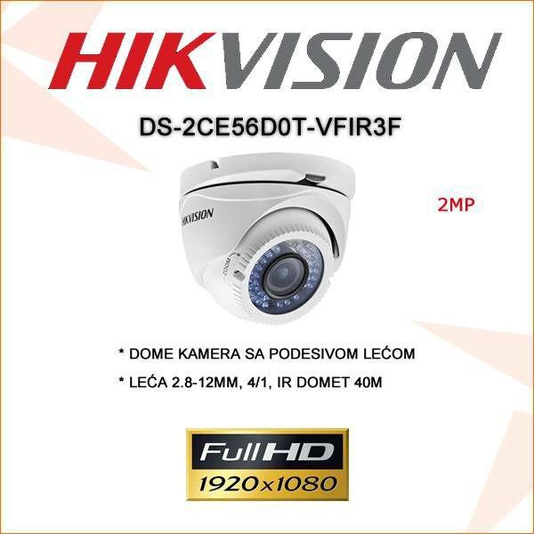 HIKVISION 2MP DOME KAMERA 2.8-12MM