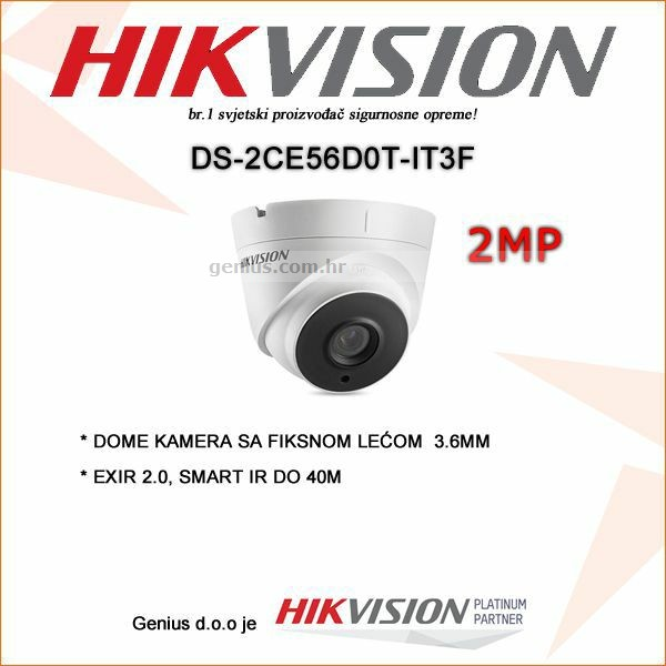 HIKVISION 2MP EXIR DOME KAMERA 3.6MM 40M IR DOMET
