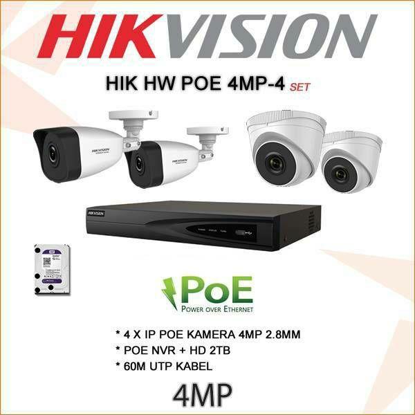 HIKVISION 4MP IP KOMPLET SA 4 POE KAMERE