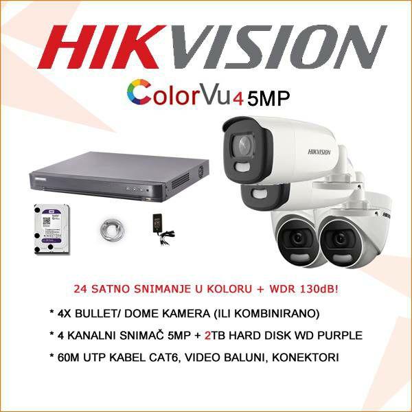 HIKVISION COLORVU SET 5MP SA 4 KAMERE + 2TB HARD DISK!