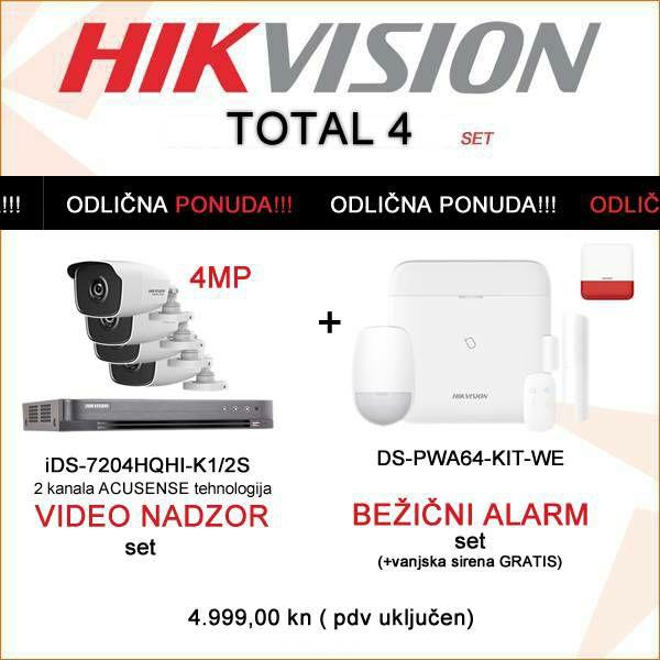 HIKVISION KOMPLET: 4MP VIDEO NADZORNI SET+ BEŽIČNI ALARM