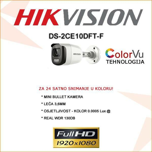 HIKVISION 2MP BULLET COLOR-VU KAMERA