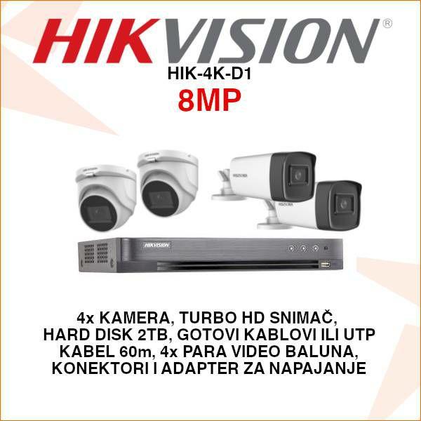 HIKVISION ULTRA HD 8MP KOMPLET SA 4 KAMERE PLUG&PLAY 2.8MM