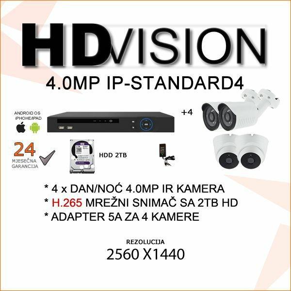 IP KOMPLET ZA VIDEONADZOR SA ČETIRI 4.0 MP KAMERE H.265