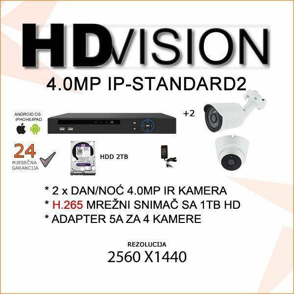 IP KOMPLET ZA VIDEONADZOR SA DVIJE 4.0 MP KAMERE H.265