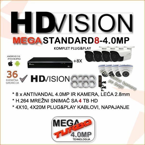 KOMPLET ZA VIDEONADZOR SA OSAM AHD 4.0 MP KAMERA 2.8MM