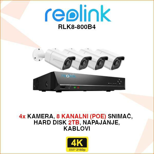 REOLINK 4K IP POE SET ZA VIDEO NADZOR S 4 KAMERE