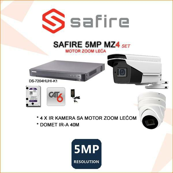 SAFIRE VIDEO NADZOR SET 5MP SA ČETIRI MOTOR ZOOM KAMERE