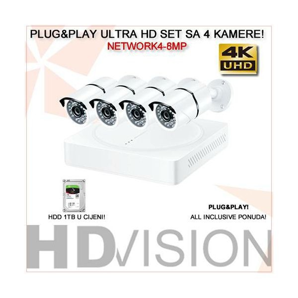UHD 4K VIDEO NADZOR KOMPLET SA 4 IR KAMERE 8MP I HARD DISKOM 1TB